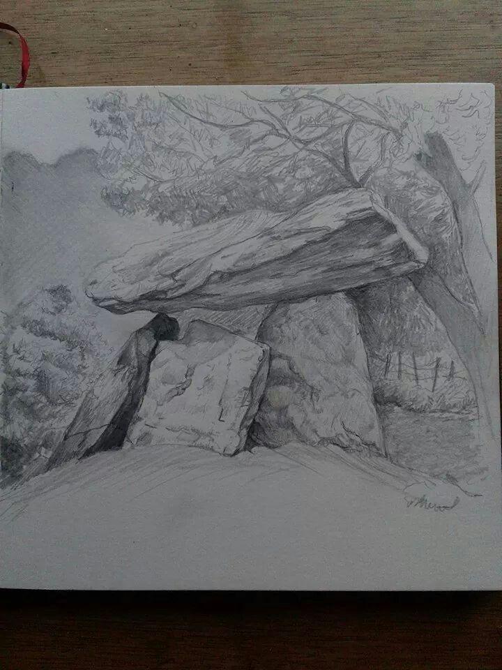 Drawing of Gaulstown Dolmen, Waterford,  Ireland