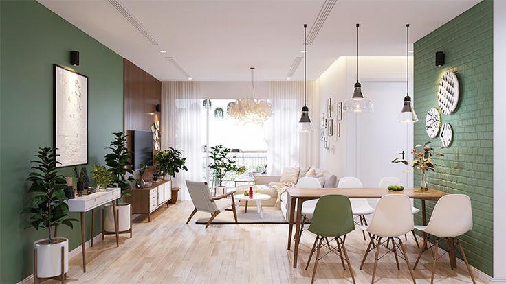 Lindo apartamento com uma paleta de cores que explora o verde, azul e cinza - limaonagua