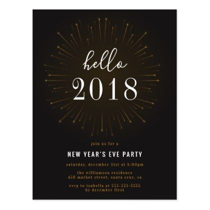 Hello 2018 | New Year's Eve Firework Party Invites Postcard - postcard post card postcards unique diy cyo customize personalize