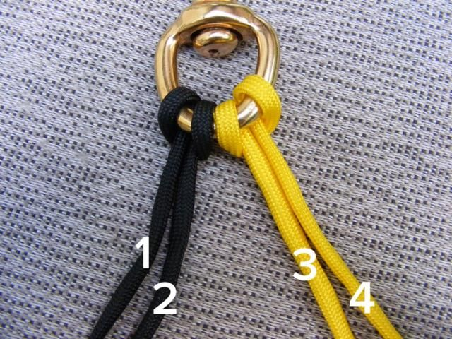 Follow my numbering system in order to create a 4-strand braid.  This picture shows the beginning state.