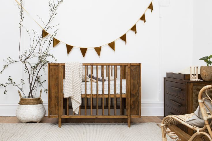 Dark stained, with Rattan side panels, Maxwell Cot and ...