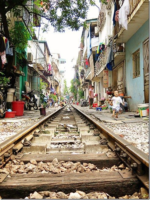 Life next to the train tracks (that are still in use!) in Hanoi, Old Quarter in Vietnam!  Read more on wanderluststorytellers.com.au