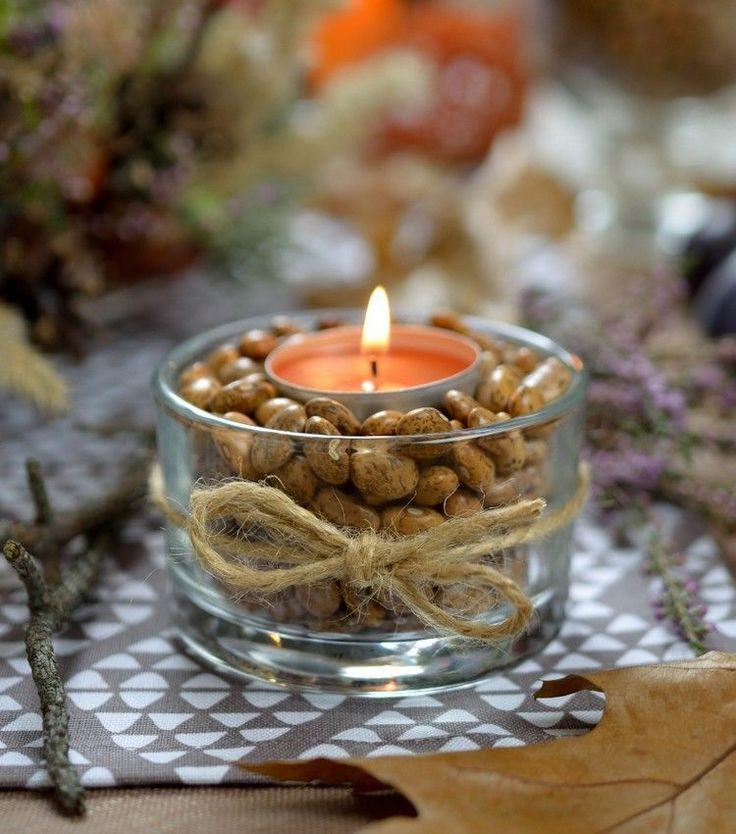 selbstgemaster Teelichthalter - braune Bohnen als Lückenfüller