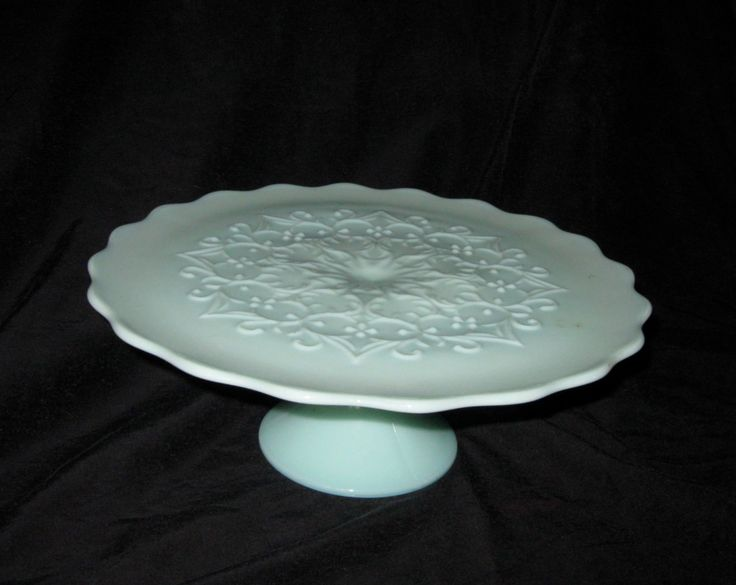 Jadeite footed cake plate/stand, Fenton Spanish Lace pattern rare by ZydecoBeads on Etsy