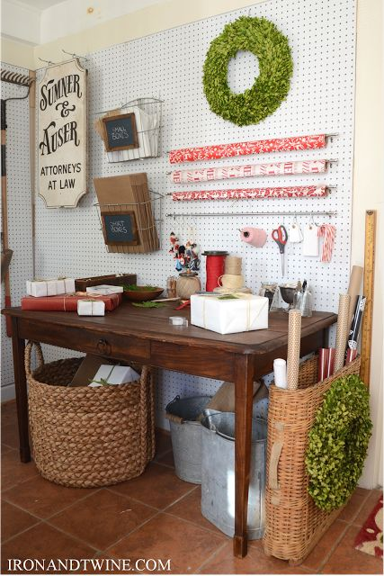 Beautiful and functional Christmas gift wrap station... I adore everything about this!