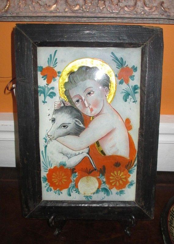 vintage reverse glass painting - Szukaj w Google