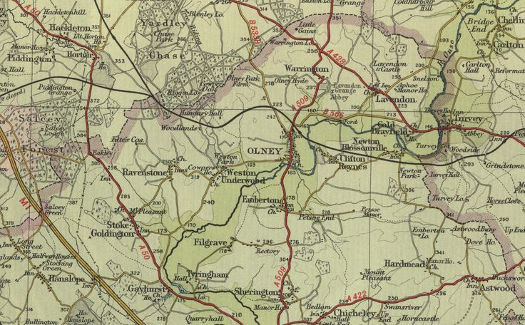 olney england | View an old town map of Olney in Buckinghamshire as shown on the ...
