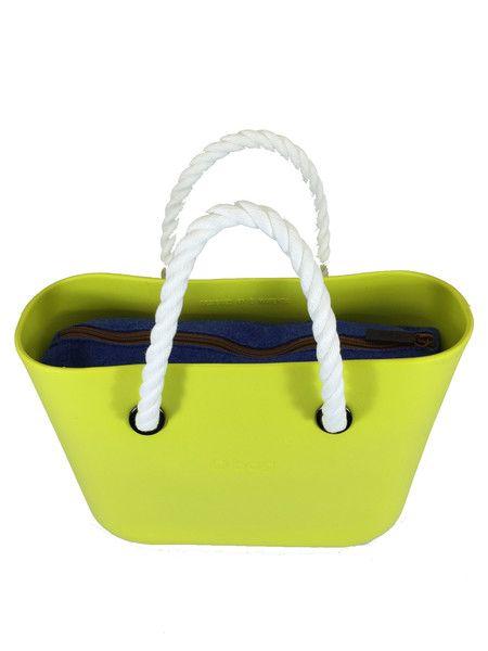 Lime O Bag Mini with Blue Avio Felt Insert and White Short Rope handle