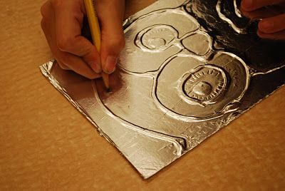 Foil Art - press the foil over drawings traced with glue, then etch designs with a dull pencil. Finish with shoe polish and wipe off for an aged look.