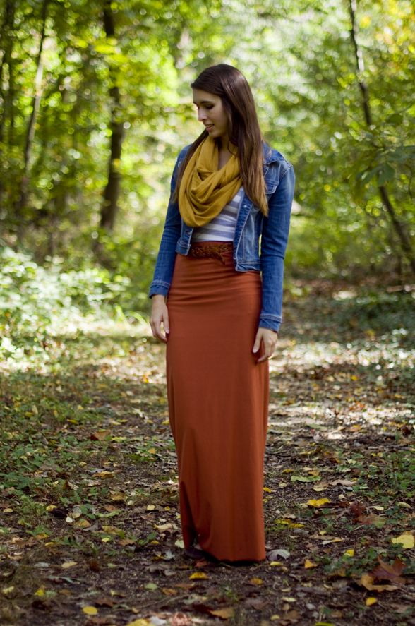jean jacket with scarf and colored maxi skirt