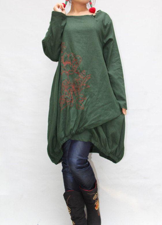 Women autumn dress/ loose linen dress/ blouse shirt