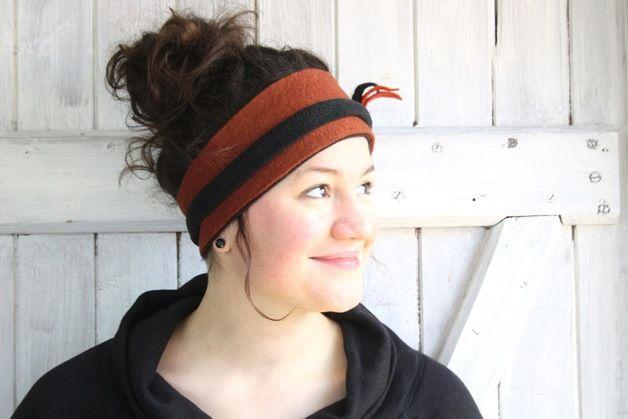 Stirnbänder - Wickel Stirnband hellbraun - ein Designerstück von boellkram bei DaWanda
