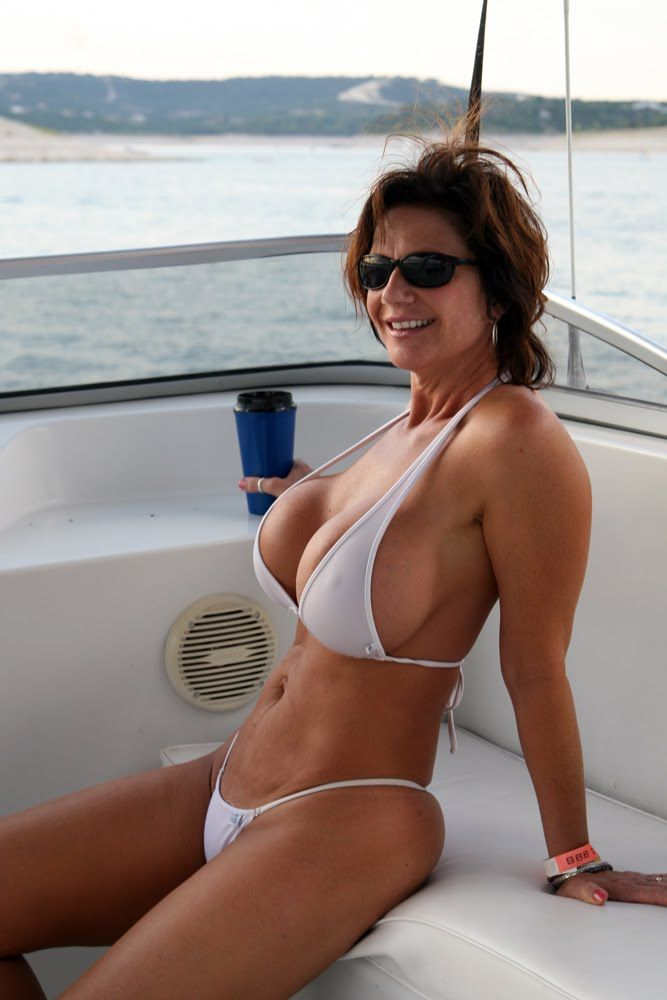Tell mature woman blue bikini