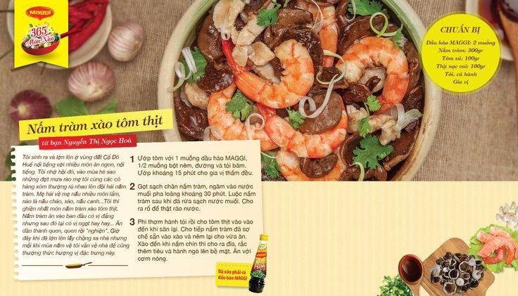 Món xào thắng giải ngày 9/4: Nấm tràm xào tôm thịt từ Nguyễn Thị Ngọc Hoà. Tham gia góp món xào ngon tại www.365monxao.com để có cơ hội trúng nhiều giải thưởng hấp dẫn