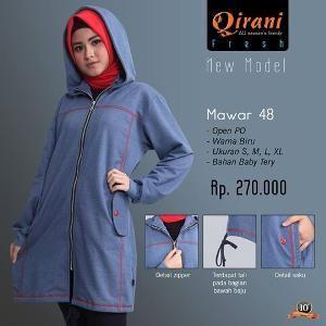 Baju Jacket Olahraga Qirani Fresh Mawar 48 Biru