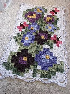 Flower Square to Square Afghan pattern. * nice idea to use a cross stitch pattern for a granny blanket.*: Crochet Flowers, Crochet Afghans, Afghans Patterns, Free Crochet, Crochet Squares, Flowers Squares, Crosses Stitches, Crochet Patterns, Free Patterns