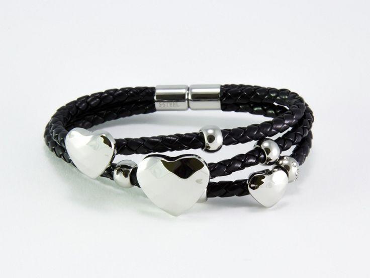Swarovski kristályos szív motívumos nemesacél fekete bőr karkötő