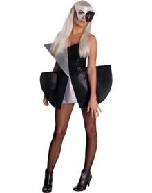 Celebrate the icon with a personal tribute - put on your poker face! Wear the officially licensed Lady Gaga Black Sequin Dress adult womens costume and rock the house. The matching mask adds to the'