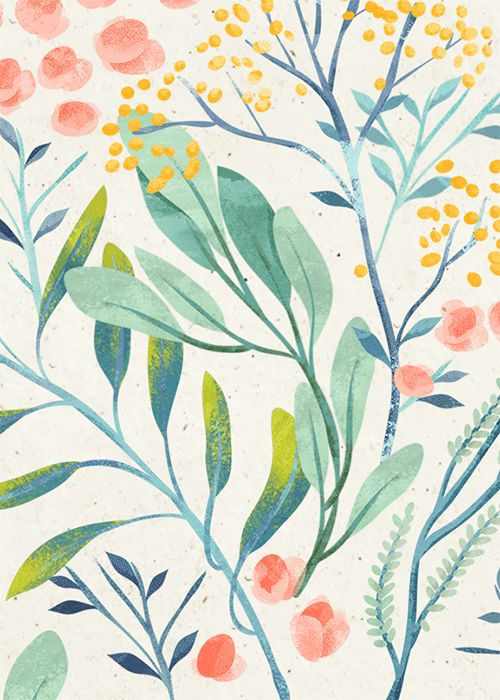 Floral Illustration Pattern in pretty colors, Ira Khroniuk @irakhroniuk, flowers, leaves, berries