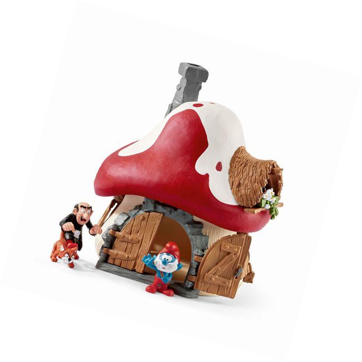 Schleich 20803 - The Smurfs Smurf House with Papa Smurf and Gargamel and Azrael #Schleich