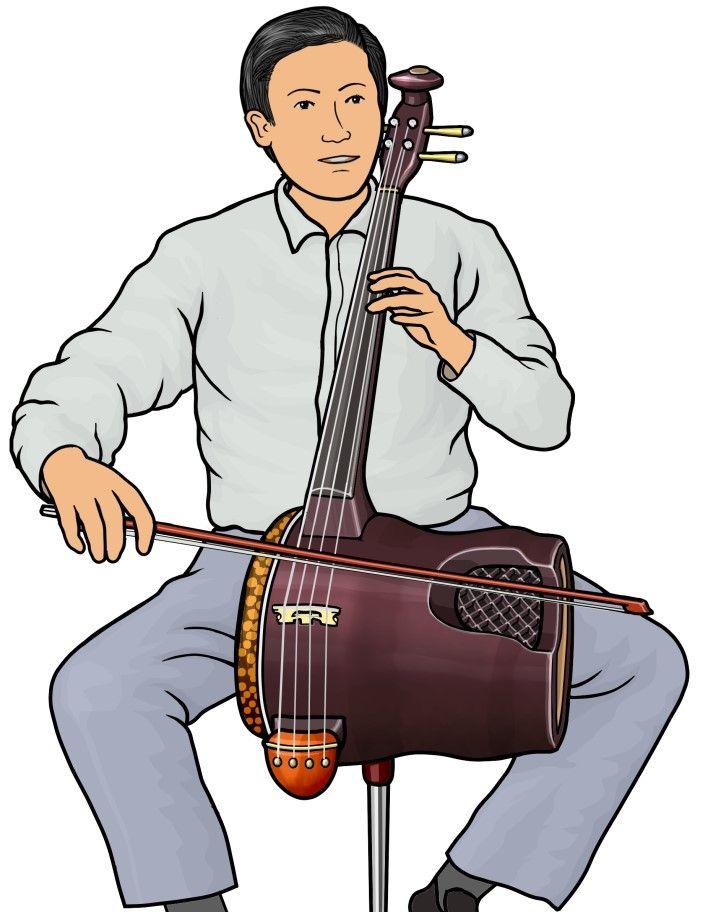 革胡(ゲフ)を演奏する男性の図 / ゲフは、中国の弓奏楽器。 中国伝統の 胡琴の仲間 と 西洋のチェロ を合体させたとても個性的な楽器である。