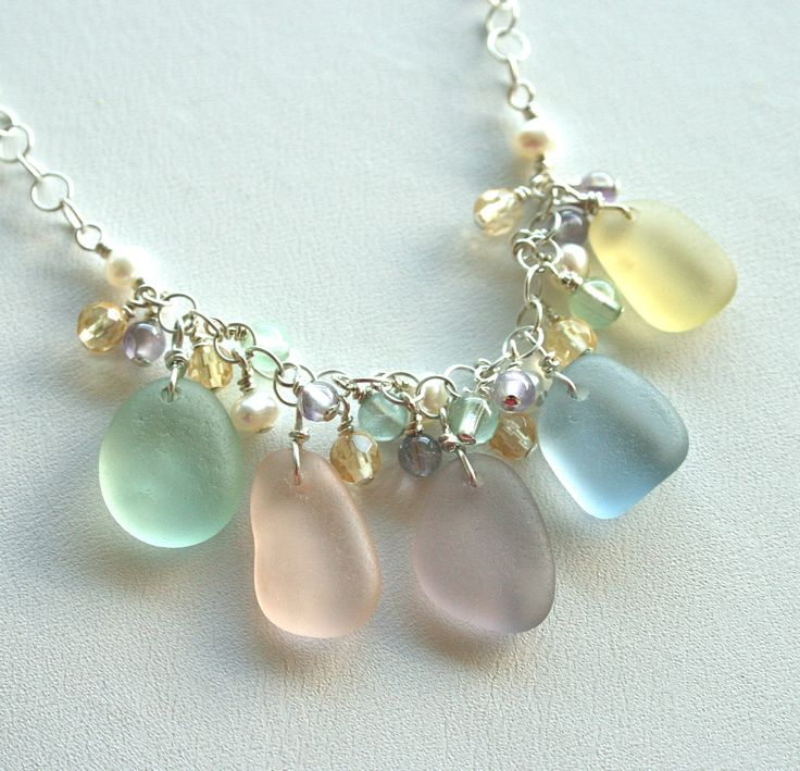 Sea Glass Jewelry Pastels Cluster Necklace by OceanCharmsSeaGlass, $64.00