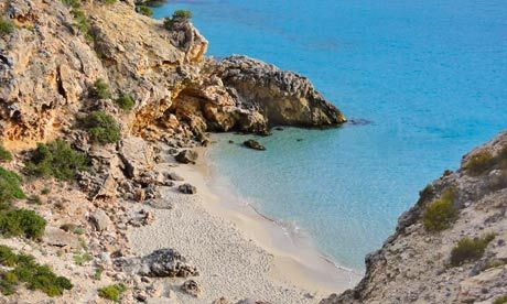 One of the pretty, less-frequented coves nearby Cala Tarida in Ibiza's south