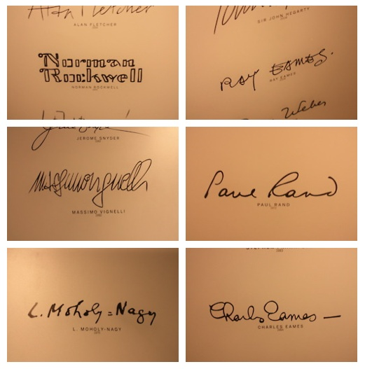 Signatures of famous artists and designers: (clockwise ...