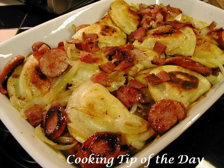 Kielbasa and Pierogies with Sautéed Onions and Bacon. One of the easiest meals with a whole lot of comfort! Reminds me of my gram :-)