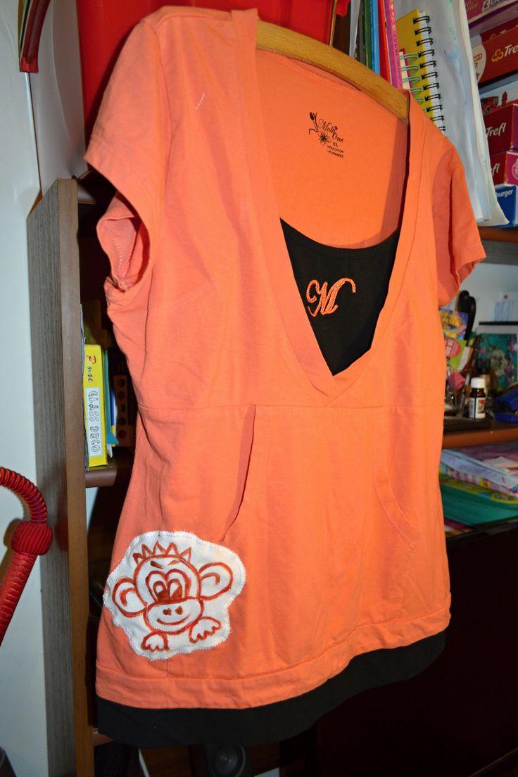 Sportovní+recyklo+tričko+s+opicí+Elastické+recyklo+triko,+s+novou+malovanou+origo+aplikací.+Vel.psána+Xl,+ale+ideálně+bude+pro+vel.40.+Přizpůsobí+se.+Šířka+v+volně+v+podpaží+2x44,+délka+60+cm.+100%+bavlna.+Vhodné+i+jako+dárek.