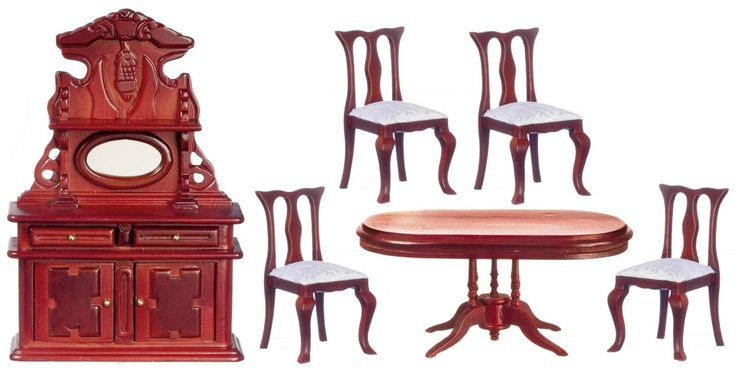6pc Victorian Dining Room Set - Mahogany with White