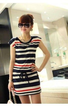 Vestido Curto (Preto/Branco/Vermelho/Feminino/Elegante/Listrado/Listras/Com Cordão) M10218