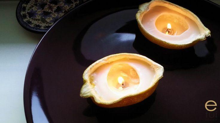 Świeczki w cytrusach i syrop cytrynowy na zimowe wieczory