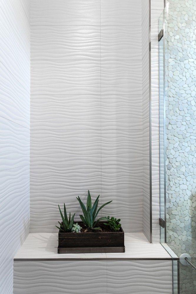 3d wavy 12 x 36 white glossy ceramic wall tile per - White ceramic wall tiles bathroom ...
