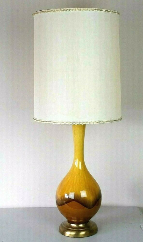 Vtg Gold Drip Glaze Lamp Mid Century Modern Yellow Orig Shade Ombre Table Lamp Table Lamp Yellow Table Lamp Lamp