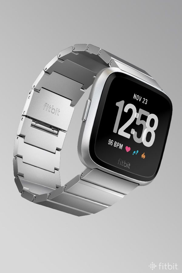 The Fitbit Versa smartwatch, customized with silver