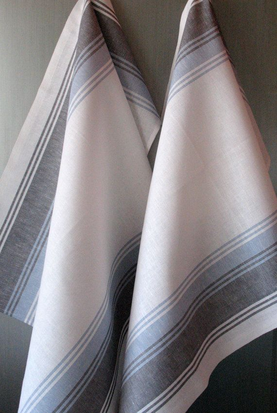 Linen Cotton Dish Towels striped White Gray Tea by Initasworks, $15.90