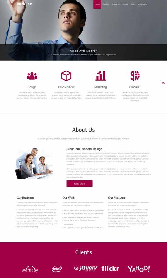 "This one has really nice ""4 buttons"" underneath the image header, that grow slightly when hovered over  Free-Bootstrap-Template-Rockline-Business"