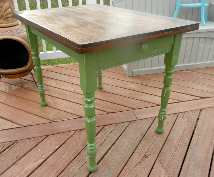 Delightful Small Green Farmhouse Kitchen Table By Stefantastical On Etsy