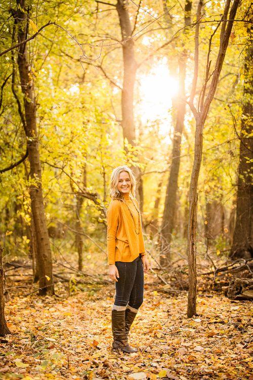 Senior photo - female - girl - gold sweater - sunset - fall - Oldani Photograpy