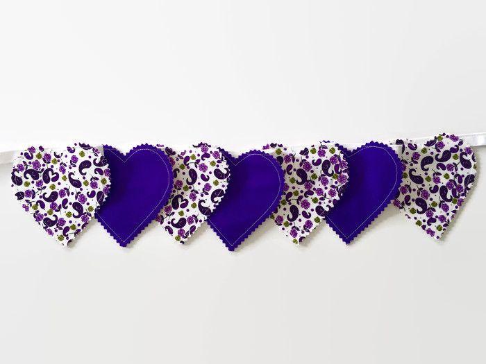 Purple nursery decor Purple heart decor Heart bunting