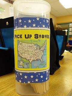 Pick Up States- A fun game for kids to  learn the states and capitals...I'm definitely going to make this for my class!