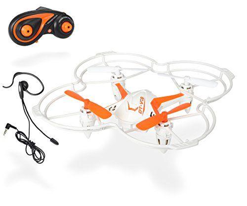 Dickie Toys 201119432 – RC DT VCQ-Voice Quadrocopter, funkferngesteuert mit Sprachsteuerung, 12 cm