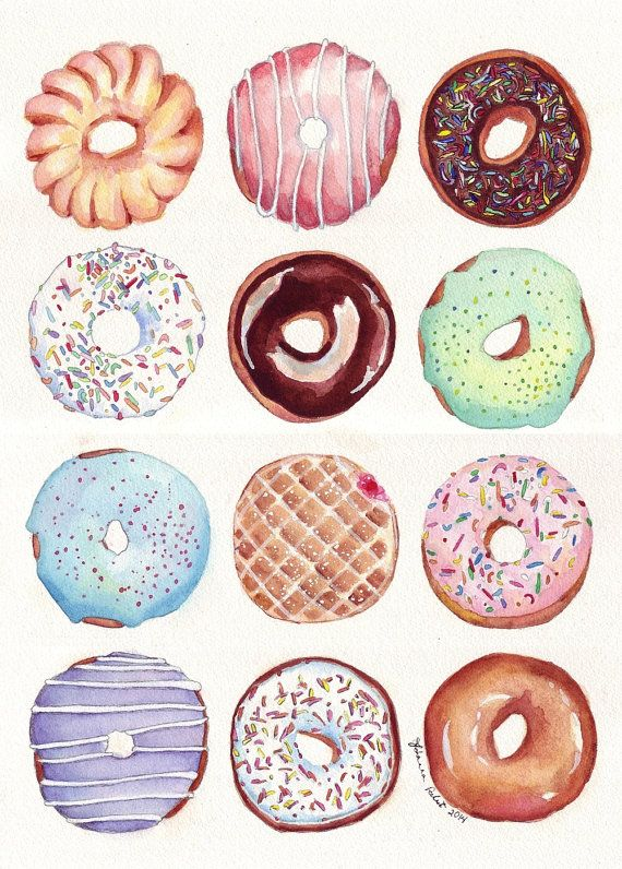 Dozen Donuts Watercolor Painting  Doughnuts Food by jojolarue