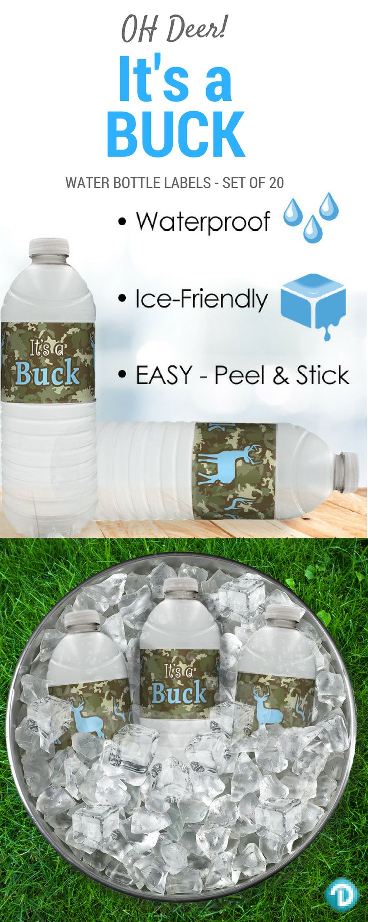 TheseIt's a Buck Boy water bottle Labelsmakethe perfect finishing touch to your boy baby shower.