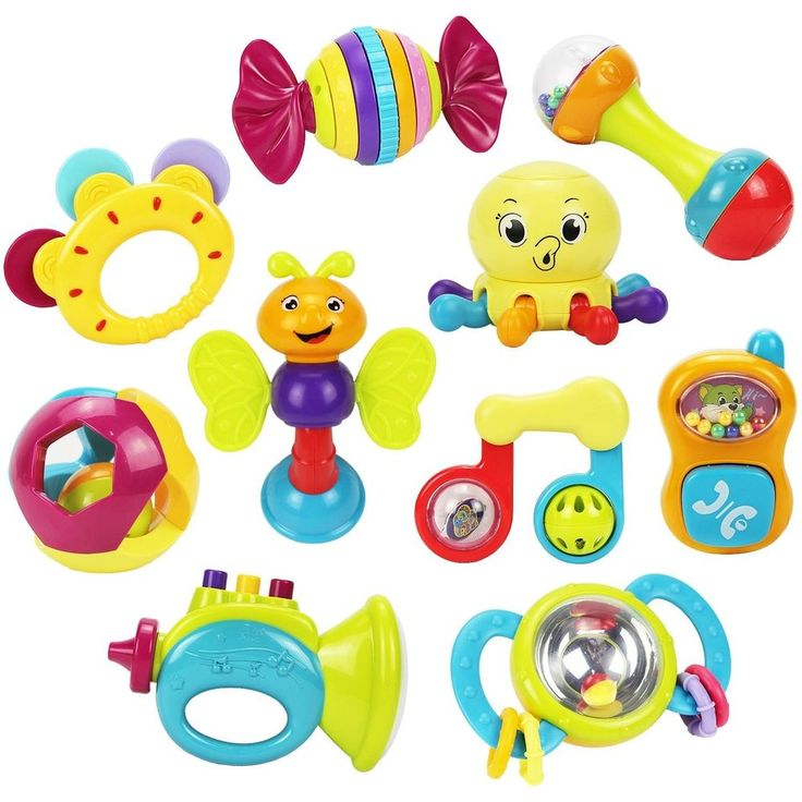 10 Baby Rattles Teether Ball Shaker Grab Spin Rattle Musical Toy Gift Set Toys  #iPlayiLearn