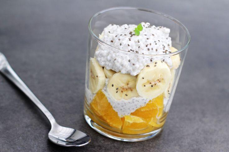 Det skal du bruge: 150 g skyr 15 g chiafrø Vaniljekorn fra ½ vaniljestang 1 tsk. akaciehonning Saften fra ½ appelsin, kan også erstattes med en god kvalitetsjuice f.eks. fra Gestus Pynt med: 1 banan, i skiver 1 appelsin, i tern