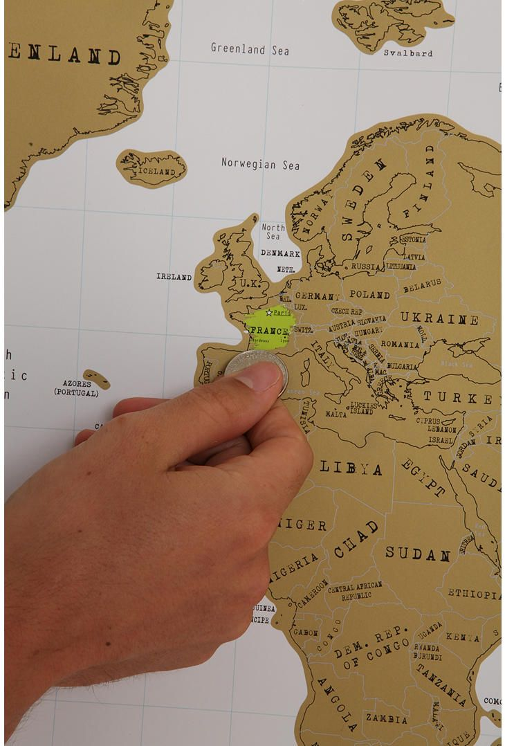 A map that lets you scratch off places you've been! Fabulous.