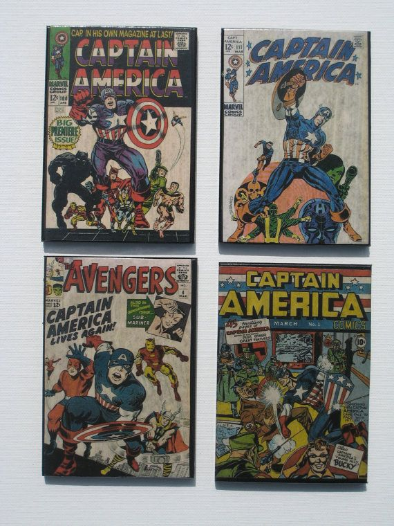 Man Caves Book : Vintage superhero comic book cover coasters by