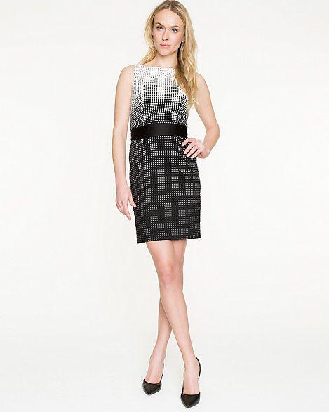 Ombré Dot Cotton Blend Shift Dress - An ombré dot pattern brings this cotton…